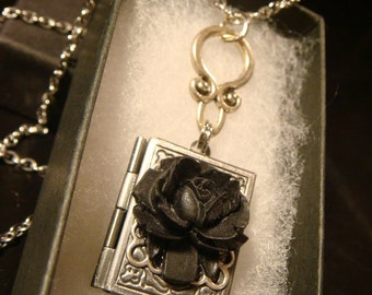 Black Rose Vintage Style Book locket Necklace in Antique Silver (2197)
