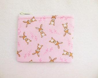 Bunny  Print Coin Bag // Bunny Rabbit // Rabbit