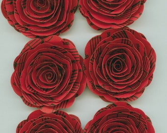 Handmade Red Paper Roses with music sheet print