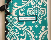 Baby Shower Book - Personalized Baby Book - Turquoise & White Damask Children Book - (Custom Colors Available)