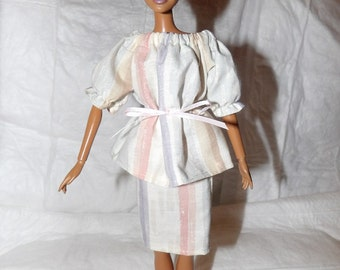 Cute muted stripe peasant top & matching skirt set for Fashion Dolls - ed823