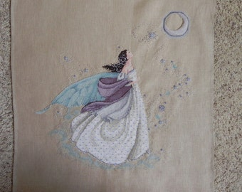 Fairy Moon Cross-Stitched Picture
