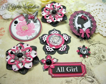 Teresa Collins Posh White Black Hot Pink Handmade Paper Embellishments, Paper Flowers for Scrapbooking, Cards, Mini Albums and Paper crafts