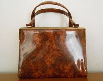 Vintage 1950s JULIUS GARFINCKEL Block marbled patent leather kelly bag / handbag / pocketbook
