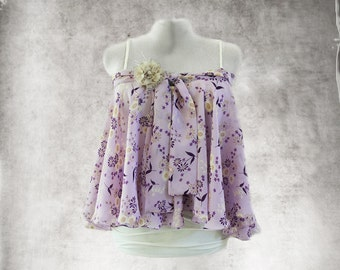 Lavender pastel floral top/Trapeze big shirt/Removable brooch/Bow tie front
