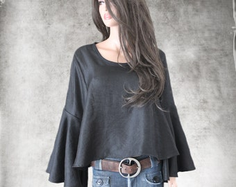 Black top women/Trapeze blouse woven/Seventies wide sleeve/Slip over top/Bell sleeve