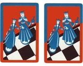 ROMANCE on THE RUN (2) Vintage Single Swap Playing Cards Paper Ephemera Scrapbook
