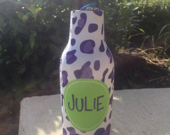 CHEETAH personalized monogram bottle beverage insulator - zippered back for longnecks - weddings, bachelorette, parties, beaches