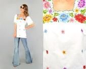 RESERVED • 70's White EMBROIDERED Mexican Tunic Blouse