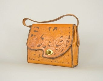 50's Tooled Leather Handbag