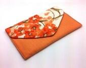 Orange Flower Envelope Clutch Coin Purse Wallet Gift for Women Cotton Orange Chintz Bag Magnetic Snap