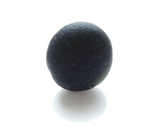 Collectors Seaglass - Black Glass Sphere - Jul07 -  from Seaham beach,  UK