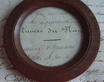 Superb antique French miniature walnut round photo picture frame  ATTIC FIND c1900  Belle Brocante