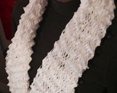 White Hand Knitted Twist Shawl Cowl Scarf