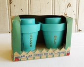 Vintage Turquoise Plastic Flowerpot Salt and Pepper Set - Flower Pots in Original Box - Mid-Century 1950s