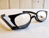 Vintage Revlon Makeup Glasses - Black Cat's Eye Frames - Mid-Century Women's Eyeglasses - Independent Fold-down Magnifying Lenses
