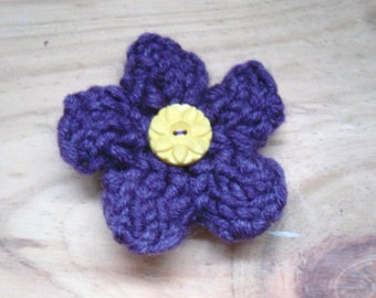 Purple Flower Brooch, Flower Pin, Knitted Brooch