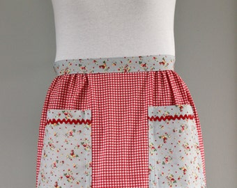 Upcycled Red and White Gingham Apron