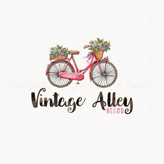 vintage bicycle logo watercolor logo photography logo premade logo flower logo design boutique logo design bespoke logo design bike logo