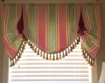 London   Shade/valance with pleats to match crib bedding, ready to ship