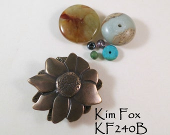 Dahlia Flower Magnetic Clasp in Golden Bronze by Kim Fox with loops for 3 connections