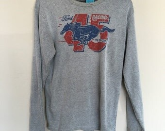HALF OFF Vintage Ford Racing 45 Gray Thermal long Sleeve L