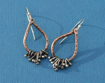 Mixed Metal Copper and Sterling Silver Hammered Tear Drop Earrings With Sterling Dangles
