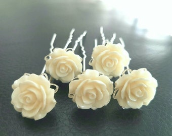 SET of 5 hair pins , flowers flower hair pins hair pin ivory flower hair pins Wedding Hair Accessories - Bridal Hair
