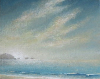 Original painting coastal beach scene a gentle shore and incoming tide