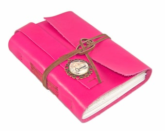 Deep Pink Leather Journal - Leather Journal - Blank Paper - Travel Journal - Leather Bound Sketchbook - Art Notebook - Journal -