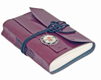 Burgundy Faux Leather Journal - Wrap Journal - Travel Journal - Bookmark - Prayer Journal - Art Journal  - Travel Journal -