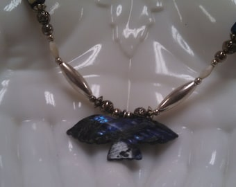 Blue Shell Bird Necklace in Silver Tone