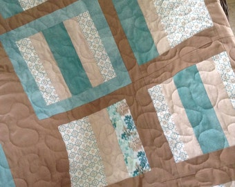 """Mocha/Teal - 55"""" x 77"""" - Lewis & Irene Threaded w/Love Collection - Contemporary/Modern - Ready to Ship"""
