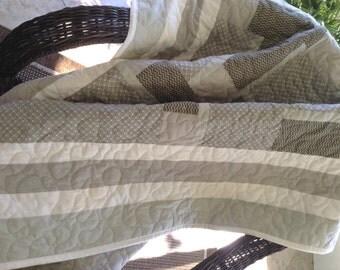 "Sage Magnolia Quilt - 54.5"" x 76.5"" - Light/Dark Sage - Contemporary/Modern Quilt - Ready to Ship"