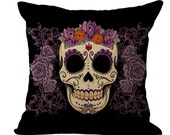 "Skull pillow Linen cover 17 1/2"" x 17 1/2"".  Zipper bottom decorative pillow covers/cushion case. Simple cushion cases Outdoor pillow case."