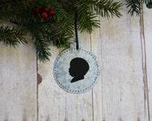 Custom silhouette round galvanized iron ornament