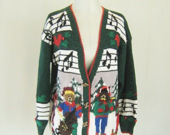 Tacky Holiday Bear Band Sweater Cardigan Top