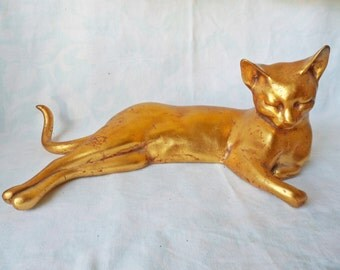 Vintage ceramic Gold CAT Figurine by ANTHONY Freeman / McFarlin