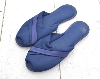 1960s Navy Glamour Skuffs Chiffon Slippers, Size Medium