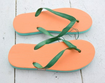 1980s NOS Orange and Green Flip Flops