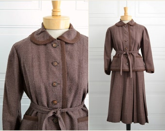 1960s Brown Wool Bouclé Jacket and Skirt