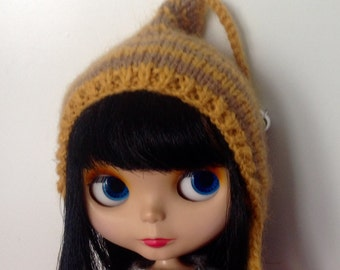 Mustard and light brown stripes pixie hat for blythe doll with bell