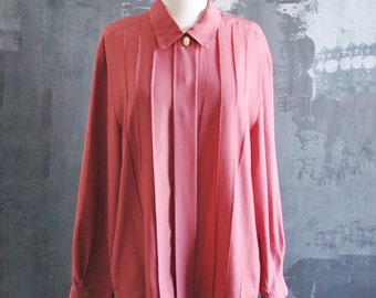 Vintage Light Red Pleated Blouse with Cameo Detail