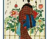 NOW ON SALE Hiroshige The Flower Garden in Autumn Counted Cross Stitch Chart -  Japanese Woodcut Artist Design