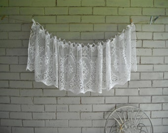 vintage window topper window valance cottage chic floral topper patterned window topper french country lace topper white valance 76 x 15