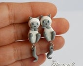 White - Gray Cats Earrings - Blue Point Siamese Cats Earrings