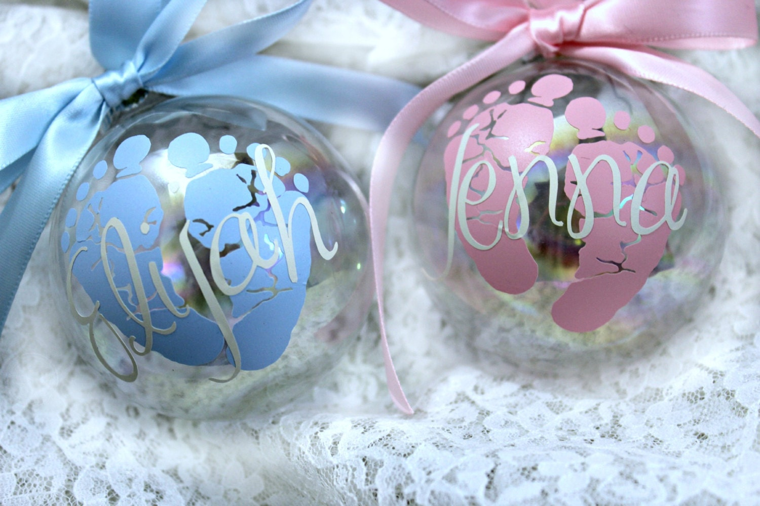 Baby 39 s first christmas ornament personalized custom for Personalized christmas photo ornaments