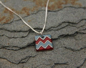 Red/ Grey Chevron Cloisonné Enamel Necklace