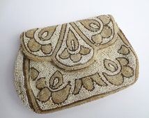 Antique French Beaded Purse Art Deco 1920s Flappers Purse Belt Loop White Tan Seed Beads Made in France Jackpot Jen Vintage