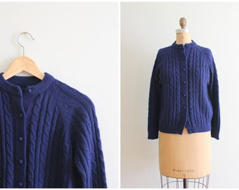 vintage 1960s cable knit cardigan sweater - navy blue granny sweater / vintage 60s ladies sweater / 60s cardigan - preppy sweater